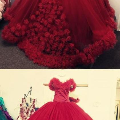 wine red wedding dress,ball gown we..