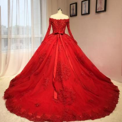 lace tulle long prom dress,red even..