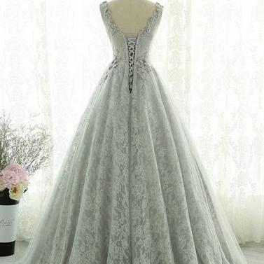 Gray lace tulle long prom dress, gr..