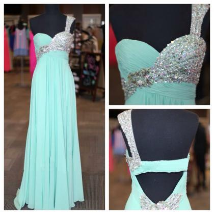 long prom dress, one shoulder prom ..