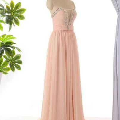 Pink Bridesmaid dress, long bridesm..