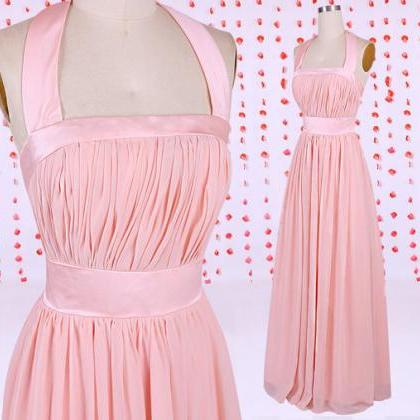 Simple pearl prom dress, pink bride..
