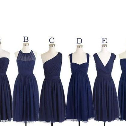 navy blue bridesmaid dress, short b..