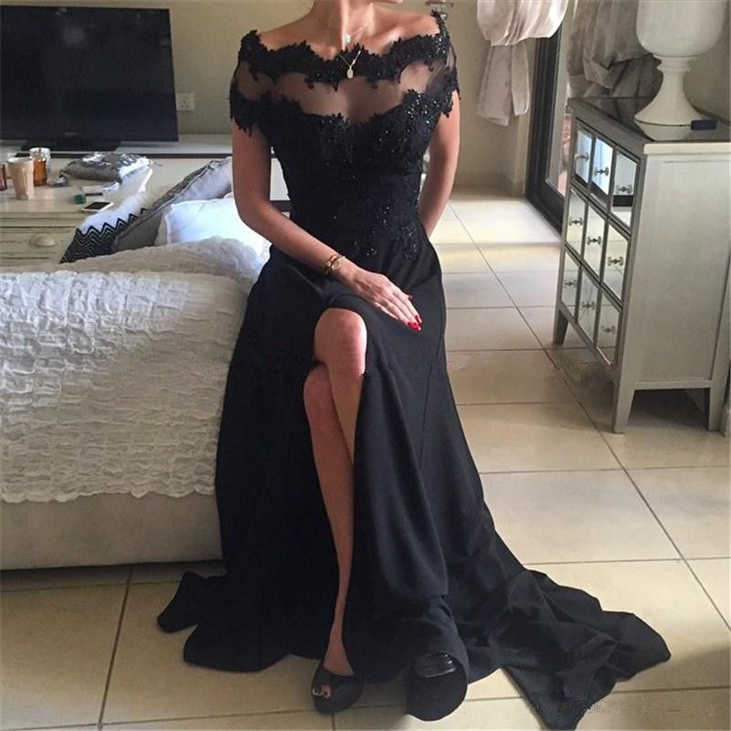 3ac8830f062f off shoulder black side slit chiffon prom dress 2017 long formal cheap  evening dress