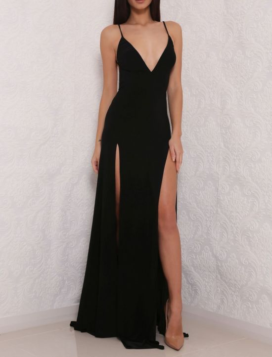 71dd0a0f1b4fb Black V-neck Chiffon Simple Formal Long Prom Dress, PD5908 on Luulla