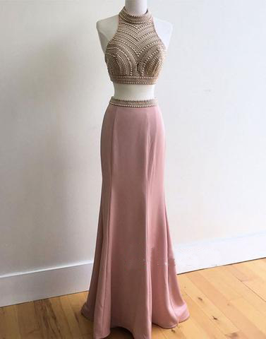 d56e3165df2 Two Pieces Dusty Rose Beaded Formal Mermaid Long Prom Dress