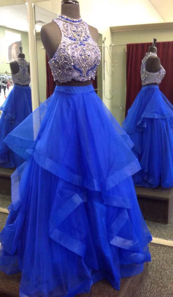 Royal Blue Prom Dresses, 2 Piece Prom Gowns,2 Pieces Prom Dresses ...