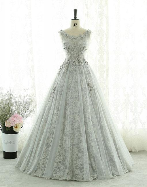 Gray lace tulle long prom dress, gray evening dress ,PD180220