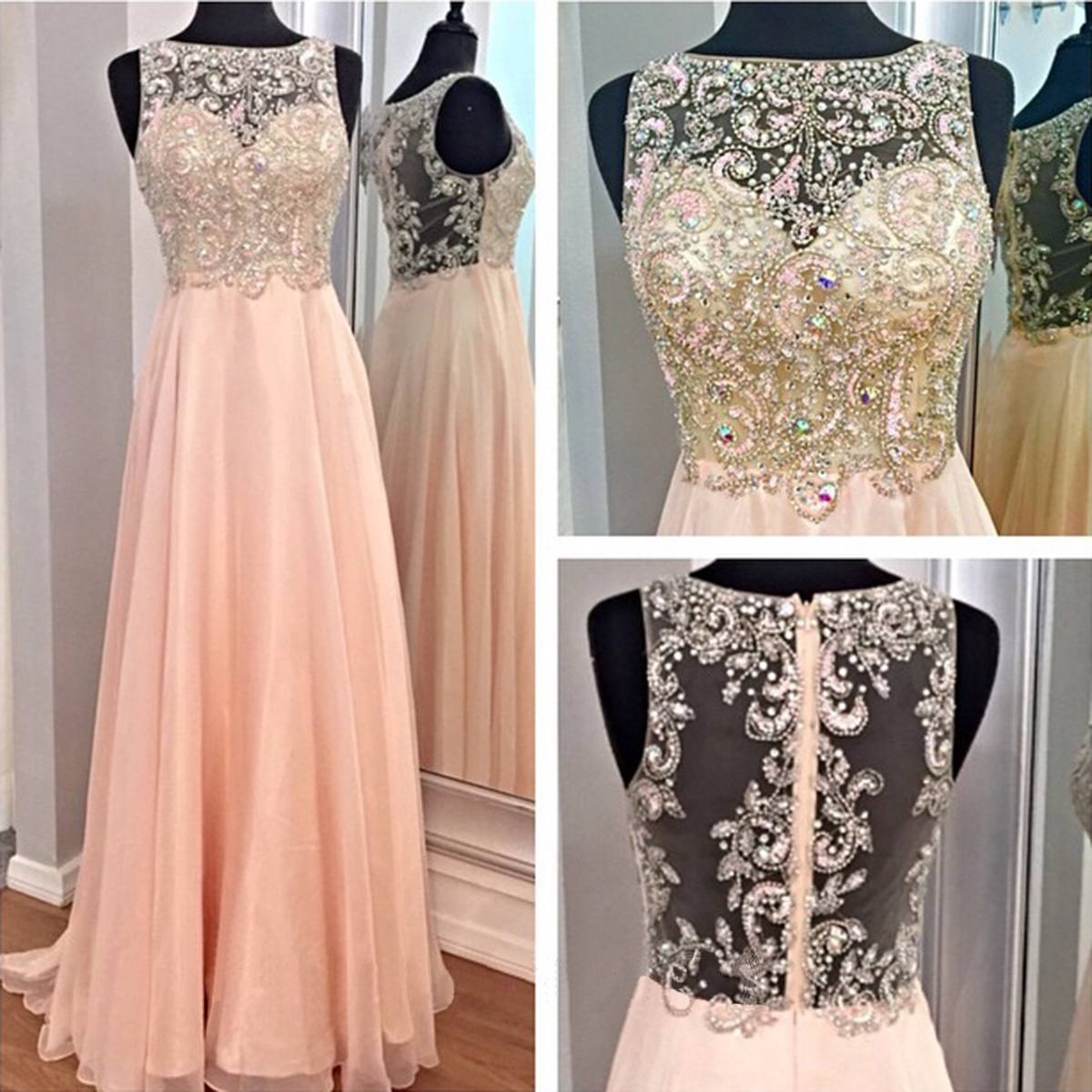 Beading Prom Dress, Peach Prom Dress, Long Prom Dress, Elegant Prom Dress,  Prom Dress, Pretty Prom Dress, Dress For Prom, BD110