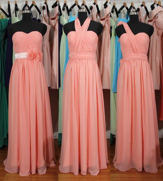 Pink Bridesmaid Dress, Long bridesmaid dress,Chiffon Bridesmaid Dress, cheap bridesmaid dress, mismatched bridesmaid dress, BD2721