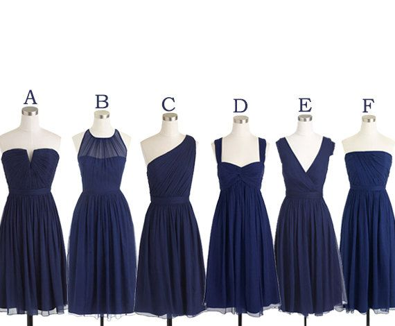 navy blue bridesmaid dress, short bridesmaid dress, occasion dress, bridesmaid dress, chiffon bridesmaid dress, simple bridesmaid dress, dress for wedding, mismatched bridesmaid dress, BD369