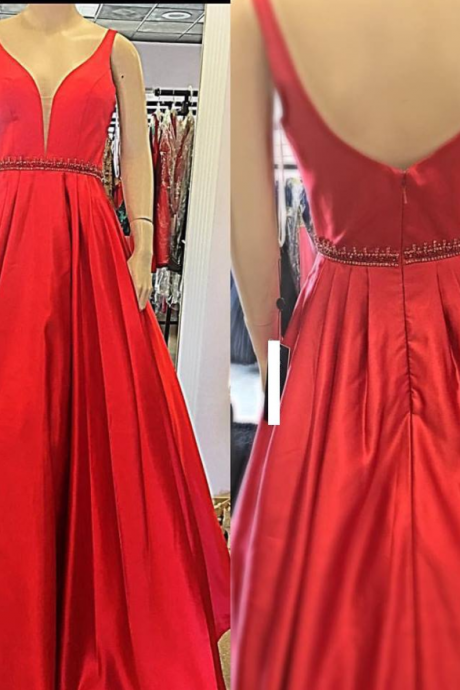 v-neck red A-line simple satin cheap formal long prom dress, PD4665