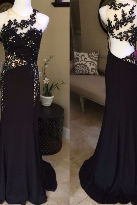 black lace appliques mermaid cheap formal long evening prom dress, PD4667