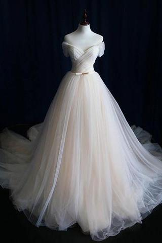 ivory off shoulder A-line tulle long prom dress, PD5110