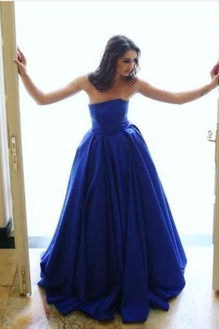 royal blue A-line strapless simple long prom dress, PD5600