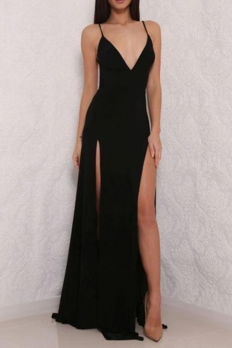 black v-neck chiffon simple formal long prom dress, PD5908