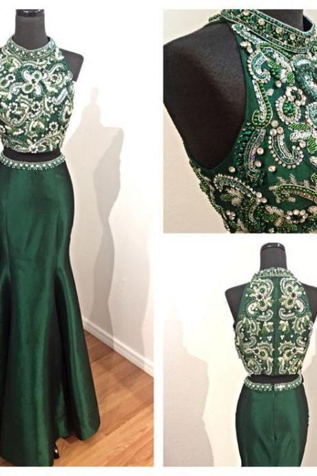 charming 2017 dark green beaded formal two-pieces long prom dress, PD14248