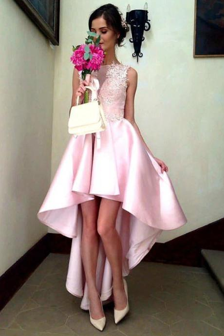 pink prom gowns,high low prom dress,elegant party dress,summer prom dresses, PD1227