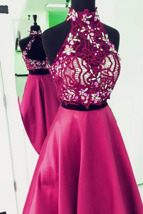 two piece prom dress,2 piece prom gowns,elegant beaded prom dress,prom dress, PD1233