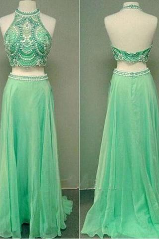 formal halter two pieces chiffon beaded long prom dress, PD14901