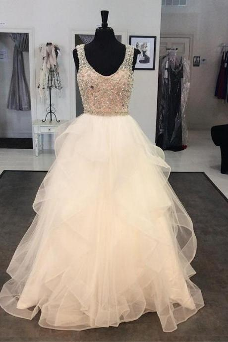 white prom dress,crystal beaded prom dress,ball gowns prom dress,prom dresses, PD1301