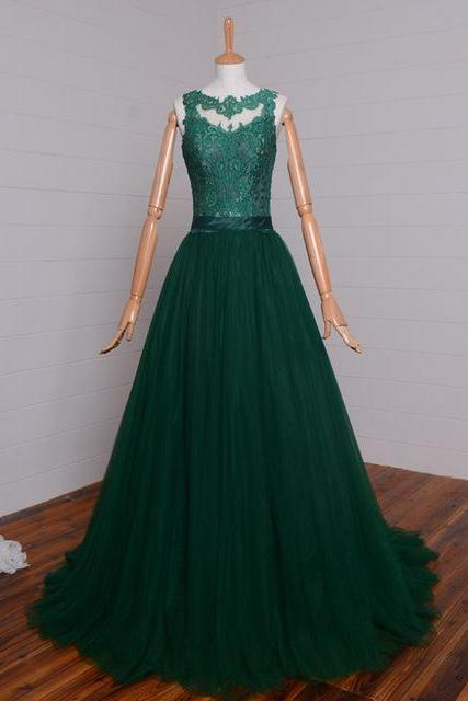 dark green tulle A-line formal long prom dresses, PD146981