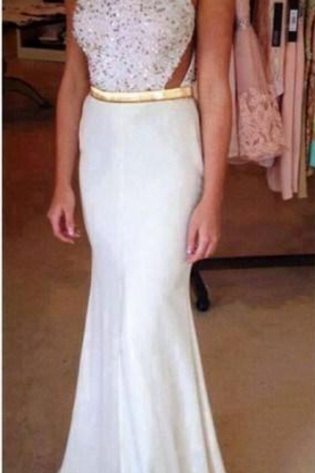 elegant formal white beaded mermaid long formal prom dress, PD15006