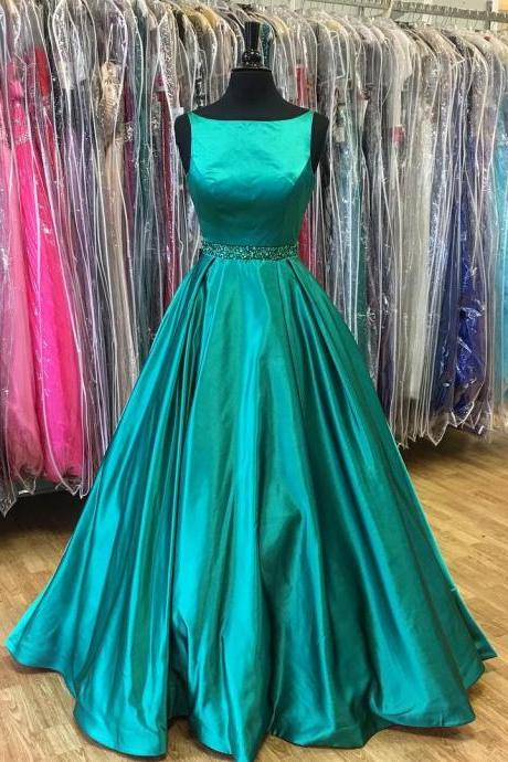 2017 cheap A-line green satin simple long formal prom dress, PD15007