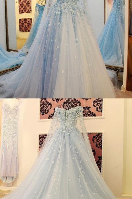 Prom Dresses,Light Sky Blue Tulle Prom Dress,Modest Prom Gown,Ball Gown Prom Gown,Princess Evening Dress,Ball Gown Evening Gowns, PD3031