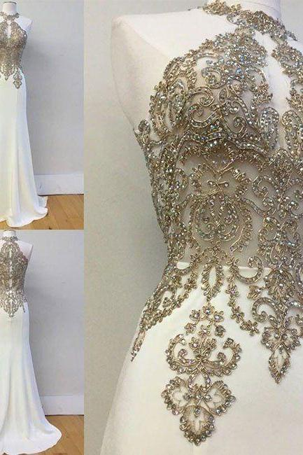 Beading Prom Dresses,Charming White Evening Dress,White Prom Gowns,Prom Dresses,New Prom Gowns,PD3001