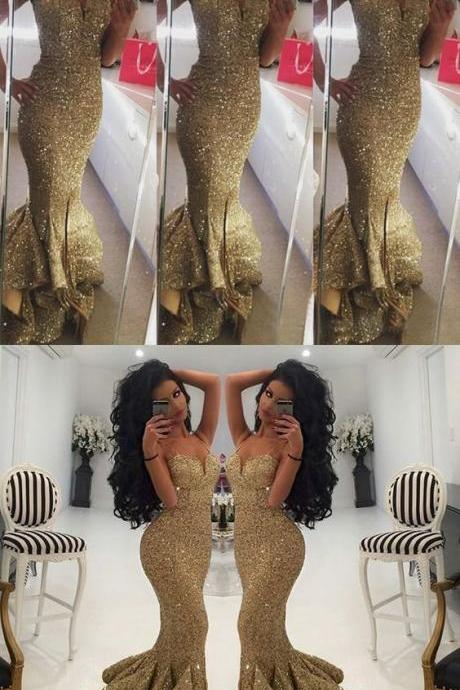 Strapless Prom Dresses,Gold Prom Dress,Modest Prom Gown,Sequins Prom Gowns,Sequined Evening Dress,Princess Evening Gowns,PD3011