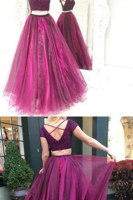 Two Piece Prom Dress,Tulle Beaded Prom Dresses,Long Prom Dress,Evening Dress, A-line prom dresses,PD14036