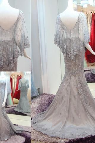 New Arrival Gray Tulle High Neck Appliques Train Prom Dresses,PD14094