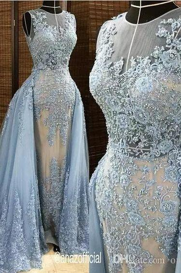 Evening Dresses With Tulle Detachable Overskirt Illusion Blue Gray Pearls Beaded Lace Appliques Celebrity Gown Sexy Plus Size Prom Dresses,PD14101