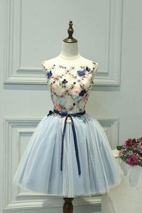 Cute gray blue tulle lace applique short prom dress cocktail dress,PD14105