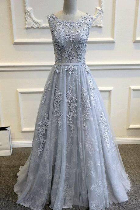 Gray tulle off shoulder long A-line senior prom dress, simple bridesmaid dress,PD14107