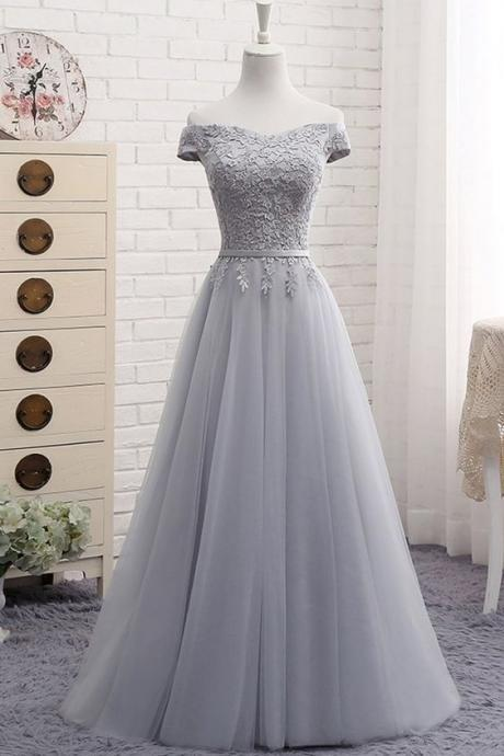 Gray tulle off shoulder long A-line senior prom dress, simple bridesmaid dress,PD14109