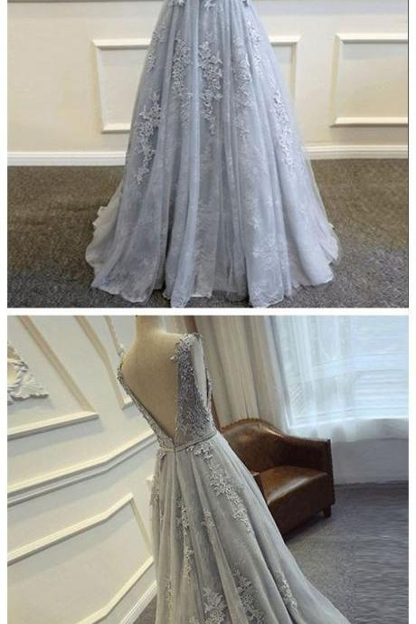 Gray Prom Dresses, V-Back Prom Dresses, Scoop Prom Dresses Tulle Prom Dresses With Lace Appliques,Party Prom Dresses,PD14111