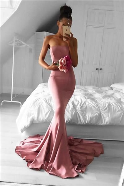 Prom Dresses, Glamorous Pink Mermaid Prom Dress - Sweetheart Sweep Train,PD14124