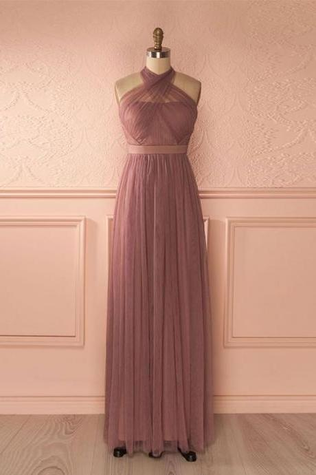 Cute tulle A-line long prom dress, bridesmaid dress,PD14228