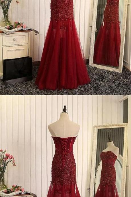 burgundy lace prom dresses,sweetheart prom dress,lace evening gowns,maroon evening gown,tulle evening dress,PD14245