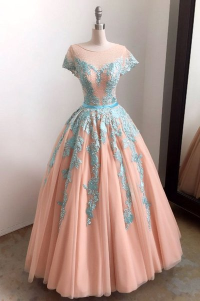 Unique baby blue lace appliques long formal prom dress, tulle evening dress,PD14296