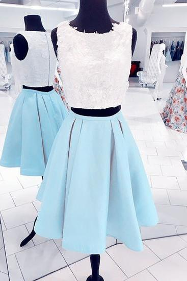 Babyblue two pieces short homecoming dress, lace prom dress,PD14299