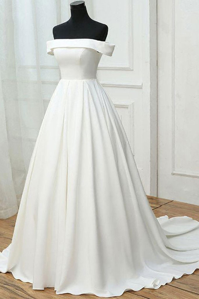 Simple white satin off shoulder long sweet 16 prom dress, long pageant dress,PD14303