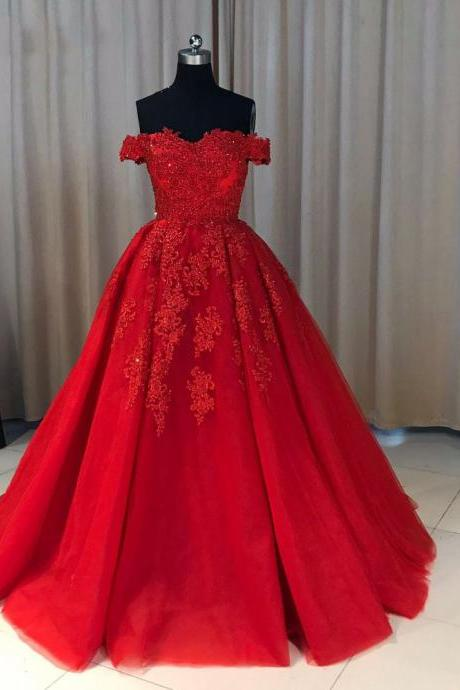 Fashion Ball Gown Off-The-Shoulder Red Long Prom Dress With Appliques,PD14319