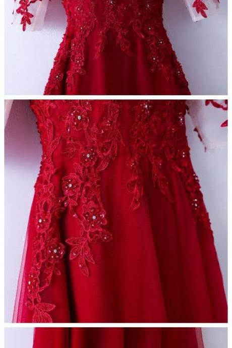 Elegant tulle lace long prom dress, red lace evening dress,PD14332