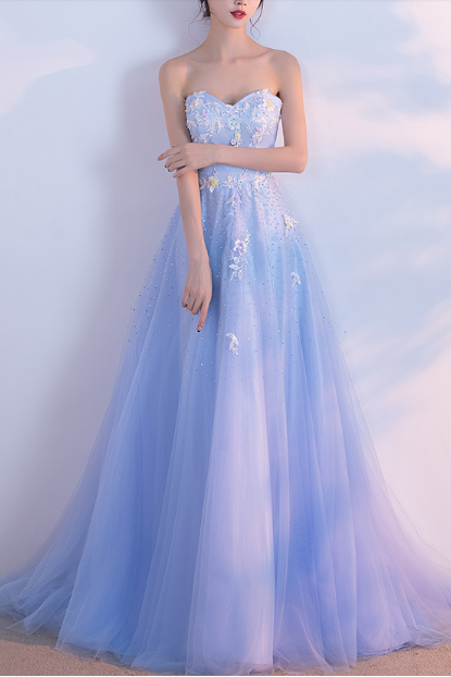 Charming Prom Dress, Elegant Light Blue Tulle Prom Dresses, Formal Evening Dress, Long Homecoming Dress,PD14378