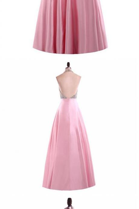 Halter Beaded Satin A-line Long Prom Dress, Evening Dress