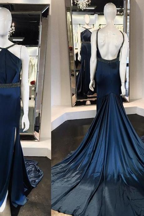 Unique Mermaid Halter Backless Split Front Sweep Train Prom Dress With Beading,PD14444
