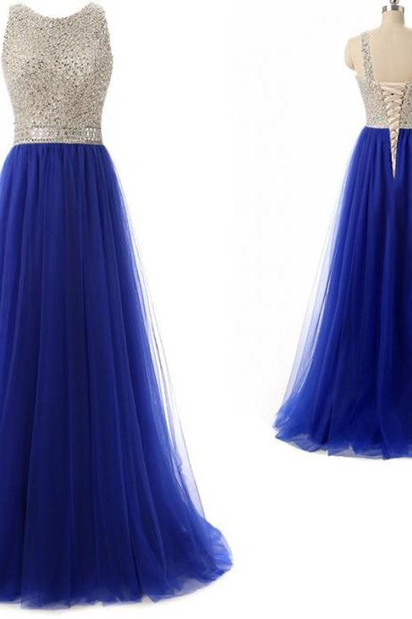 Sexy Sleeveless Crystal Beading Tulle Evening Dress, Royal Blue Long Prom Dress,PD14602